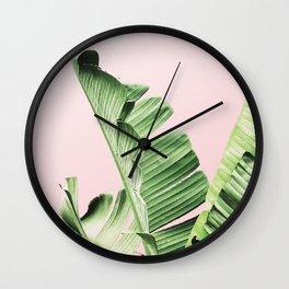 Banana Leaf on pink Wall Clock