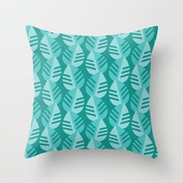 Teal Banana Leaves Print Throw Pillow