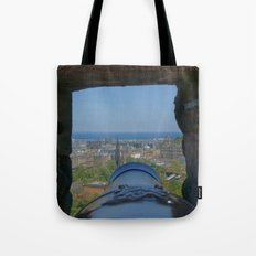 Edinburgh castle city view from Cannon pov (point of view ) Tote Bag