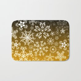 Symbols in Snowflakes on Gold Bath Mat