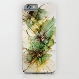 Abstract Flowers  Green  Brown iPhone Case