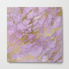 Lavender Gold Marble Metal Print
