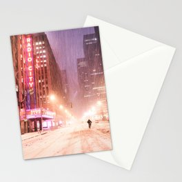Snowstorm in New York City Stationery Cards