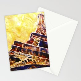 Watercolor painting of the iron lattice of the Eiffel Tower in Paris, France Stationery Cards