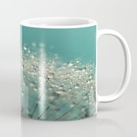 sparkles Mugs featuring Cyan Sparkles by Sharon Johnstone