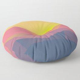 Mountain Sunset Illustration Floor Pillow