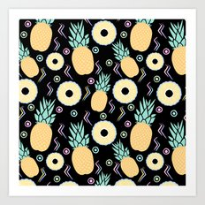Black Pineapple Art Print