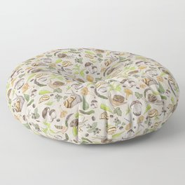 Woodland Snail in Watercolor Fungi Forest, Moss Green and Ochre Earth Animal Pattern Floor Pillow
