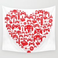 gaming Wall Tapestries featuring Gaming Love by Tombst0ne