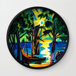 Boat on the Beach at Sunrise landscape coastal painting by Hermann Max Pechstein Wall Clock