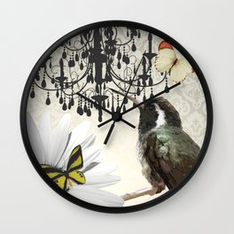 Vintage Chandelier Bird Flower & Butterflies Wall Clock