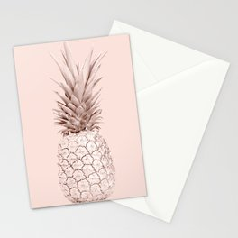 Rose Gold Pineapple on Blush Pink Stationery Cards