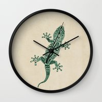 ornate Wall Clocks featuring Ornate Lizard by Barruf
