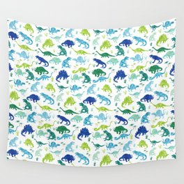 Watercolor Dinosaur Pattern White Green Blue Wall Tapestry
