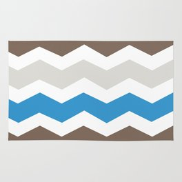 Brown Blue Gray Chevron Rug