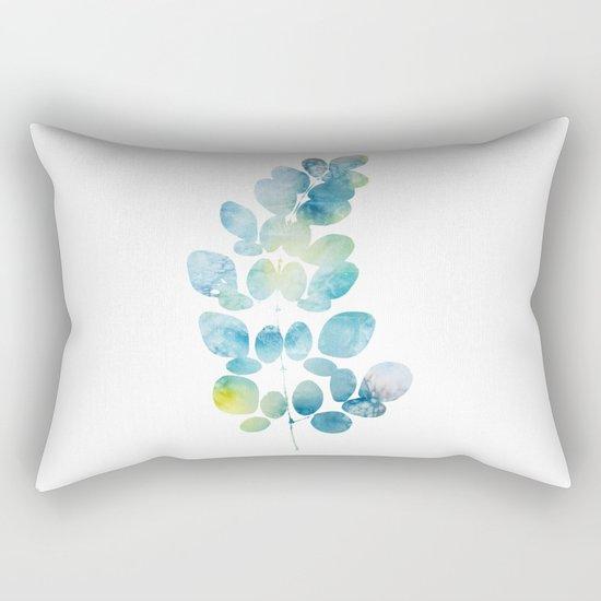 Blue Watercolor Leaves Rectangular Pillow