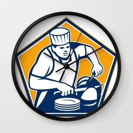 Chef Cook Slicing Ham Retro Wall Clock