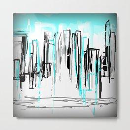 City Painted in Aqua Metal Print