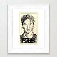 frank sinatra Framed Art Prints featuring Frank Sinatra - Mugshot 1938 by Tim Clary
