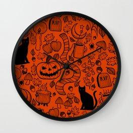 October Pattern- Black & Orange Wall Clock