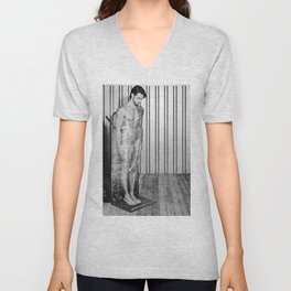 Naked man wrapped with pallet wrap. #A9118  Unisex V-Neck