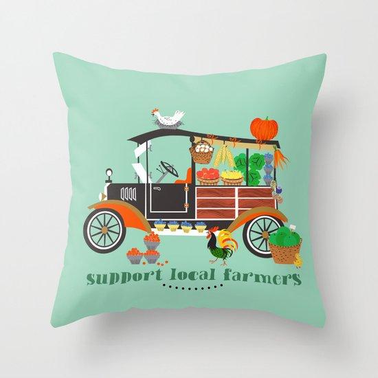 Oldtimes Market Throw Pillow