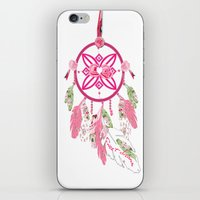 shabby chic iPhone & iPod Skins featuring Shabby Chic Dream Catcher by KarenHarveyCox