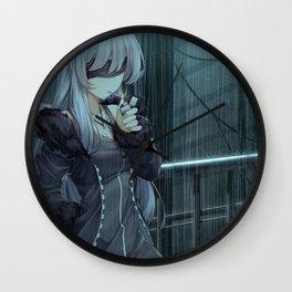 Anime Girl Night Rain Wall Clock
