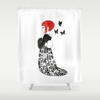 moth Shower Curtains featuring Moth by Freeminds