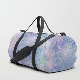 soft lace runner in blues Duffle Bag