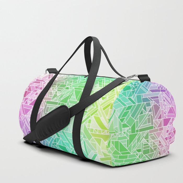 Bright Gradient (Violet Purple Lime Green Neon Yellow) Geometric Pattern Print Duffle Bag