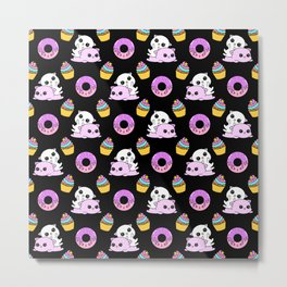 Cute funny Kawaii chibi pink little playful baby kittens, happy orange sweet donuts and adorable colourful yummy cupcakes pattern design. Nursery decor ideas. Metal Print