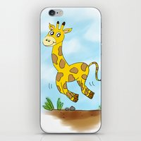 chad wys iPhone & iPod Skins featuring Chad the Prancing Giraffe  by Nuanc3d