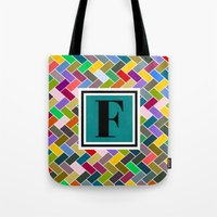 monogram Tote Bags featuring F Monogram by mailboxdisco