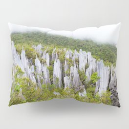 Limestone pinnacles formation at Gunung Mulu national park Borneo Malaysia Pillow Sham