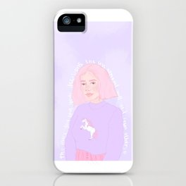 Unicorn girl / Cute Illustration / Positive Quote / Nursery Decor / Home Decor / Wall Illustration iPhone Case