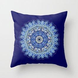 Blue True Mandala Throw Pillow