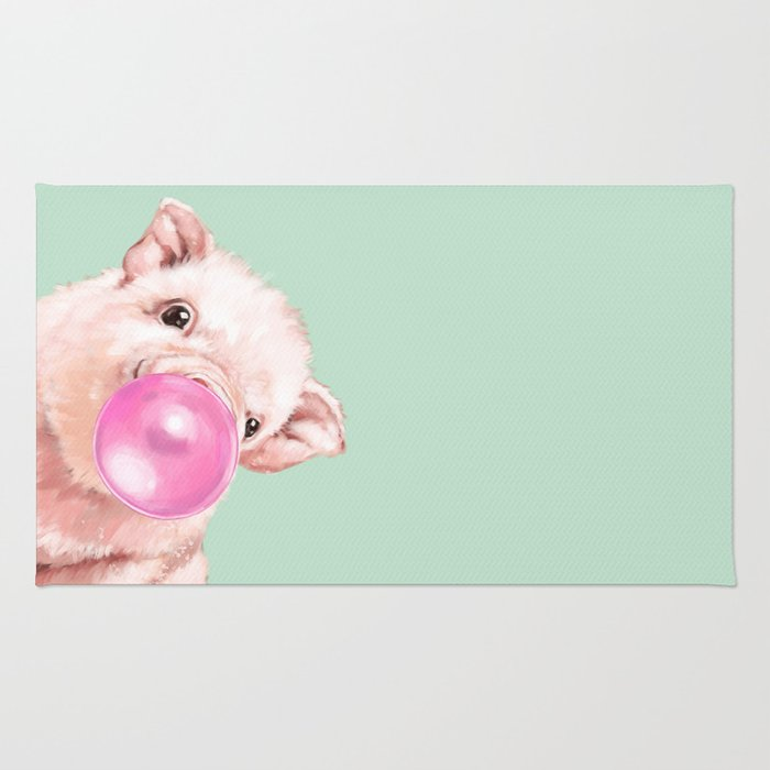 Bubble Gum Sneaky Baby Pig in Green Rug