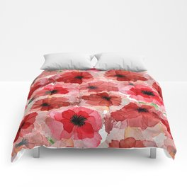 Pressed Poppy Blossom Pattern Comforters