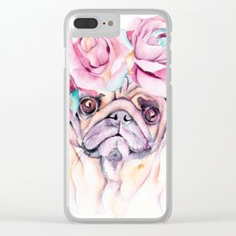 Flower Pug Clear iPhone Case