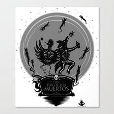 Dia de los Muertos Roadrunner and Coyote Canvas Print