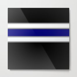 Team Colors 2....blue double gray white..stripes Metal Print