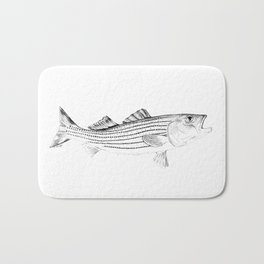 Striped Bass - Pen and Ink Illustration Bath Mat