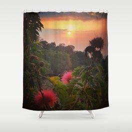 Pink Powder Puff at Sunset Shower Curtain