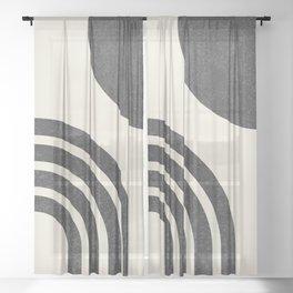 Mid century modern - Sun & Rainbow black Sheer Curtain