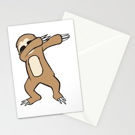 Cute and Funny Dabbing Sloth design Stationery Cards