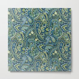 Paisley Forest Green Metal Print