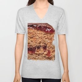 Detail of slice of chocolate cake with strawberry jam filling Unisex V-Neck