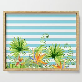 Tropical Chic Teal Blue Stripes Serving Tray
