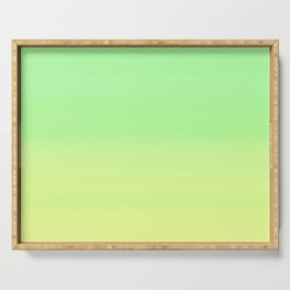 Lime Pastel Gradient Stripes | Green yellow pattern Serving Tray